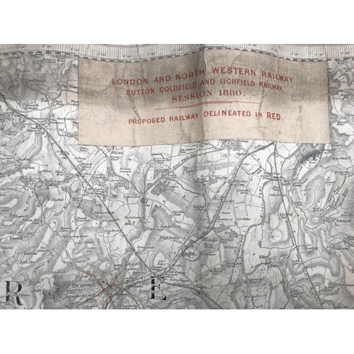 222 - ORIGINAL CLOTH RAILWAY TRACK MAP & DIAGRAM WITH INFRASTRUCTURE AND COLOURED BOUNDARY MARKINGS LNWR L...