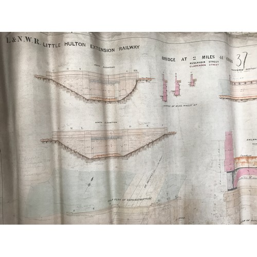 227 - ORIGINAL CLOTH RAILWAY TRACK MAP & DIAGRAM WITH INFRASTRUCTURE AND COLOURED BOUNDARY MARKINGS RAILWA...