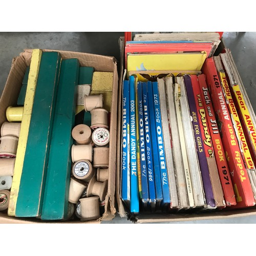268 - BOX OF OLD CHILDRENS ANNUALS, WOODEN BUILDING BLOCKS ETC...