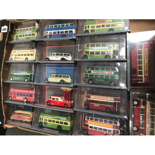 445 - 17 CASED CORGI OOC MODEL BUSES MANY WITH ORIGINAL WRAP BUT MISSING CARD OUTERS MOST VEHICLES BEING E...