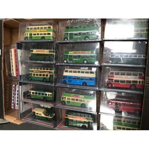 447 - 17 CORGI OOC MODEL BUSES MOST IN CELLOPHANE SOME MISSING ORIGINAL CARD WRAPPERS BUT OTHERWISE IN GOO...