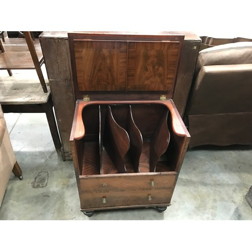 254 - 2 DUMMY DRAWER COMMODE WITH FITTED INTERIOR ON TURNED FEET...