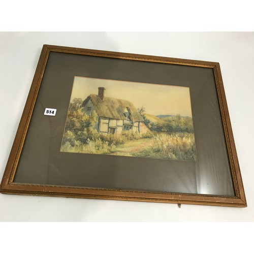 514 - WINIFRED PALMER WATERCOLOUR DEPICTING A THATCHED AND HALF TIMBERED COTTAGE...