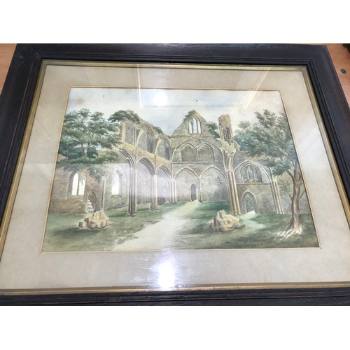 552 - FRAMED WATER COLOUR UNSIGNED OF A RUINED ABBEY VIEW...