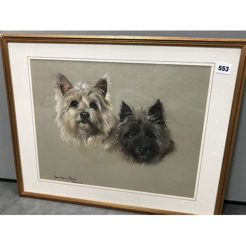 567 - PHYLLIS BINET (BRITISH 20TH CENTURY) PASTEL DRAWING 'SAMBO AND PUCK', DEPICTING 2 TERRIERS, SIGNED L...