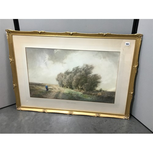 574 - WILLIAM TATTON WINTER  (1855-1928) WATERCOLOUR 'WILLOWS, A WINTER'S DAY' APPROX. 75 X 46 CM...