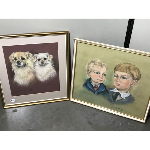 580 - MARJORIE COX PASTEL STUDY OF 2 YOUNG BOYS TOGETHER WITH A PASTEL STUDY OF 2 TIBETAN SPANIELS BABA AN...