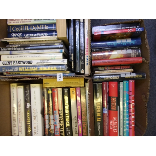 1228 - 2 BOXES OF SCIENCE FICTION BOOKS INCLUDING STAR TREK  MAKING OF JUDGE DRED, WILD AND YOUNG,  TITANIC...
