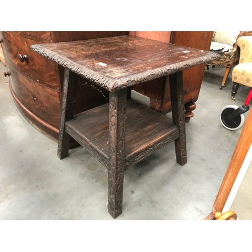 646 - SQUARE TOP OAK OCCASIONAL TABLE WITH UNDERTIER...