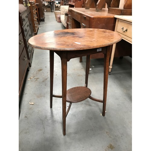 650 - OVAL TOP MAHOGANY OCCASIONAL TABLE WITH UNDERTIER...