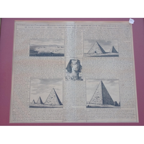 1518 - FRAMED EXTRACT, DESCRIPTION DES PYRAMIDS D'EGYPTE, AN EXTRACT FROM ENCYLOPAEDIA FRENCH TEXT PICTURES...