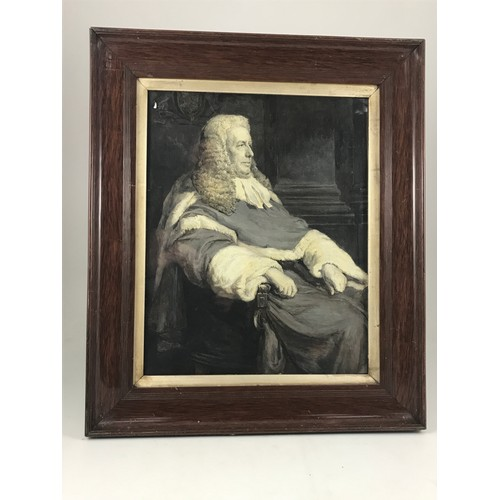 1530 - SEPIA OIL ON PAPER PAINTING DEPICTING JUDGE AMPLETT, APPROX. 50 x 41 cm...