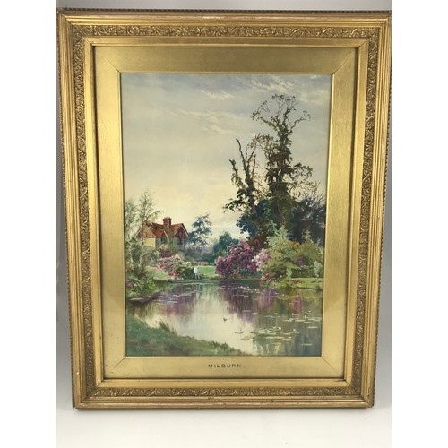 1544 - MATHISON WATERCOLOUR 'MILBURN' DEPICTING A HOUSE AND ORNAMENTAL LAKE, approx. 60 x 43 cm...