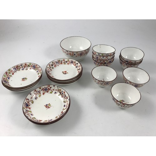 1749 - SET OF EARLY ENGLISH TEA BOWLS AND SAUCERS TOGETHER WITH A SLOP BOWL...
