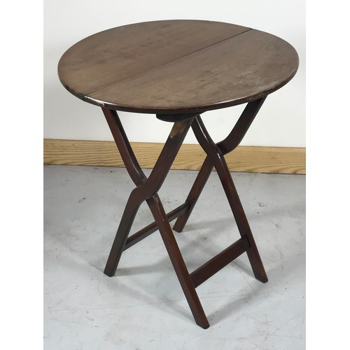 1041 - ROUND TOP MAHOGANY CAMPAIGN TABLE ON STAND