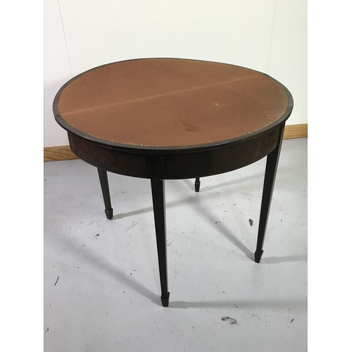1018 - GOOD QUALITY DEMI LUNE MAHOGANY CARD TABLE WITH RADIAL VENEER FOLD OVER TOP AF
