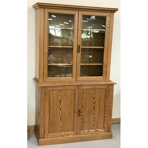 1009 - ANTIQUE STRIPPED PINE CABINET WITH GLAZED CUPBOARD ABOVE, 130 w x 217 h cm