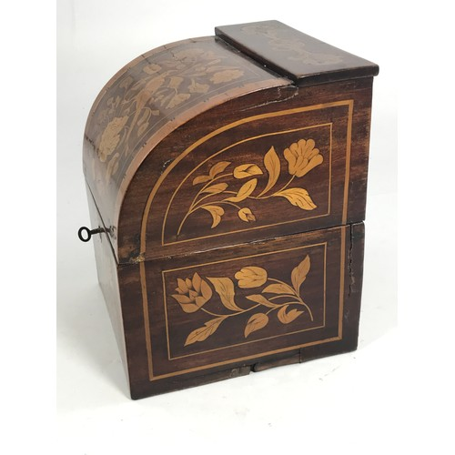 3143 - AN EARLY 19TH CENTURY DUTCH WALNUT AND FLORAL MARQUETRY INLAID DECANTER BOX WITH 4 MATCHING 19TH CEN...