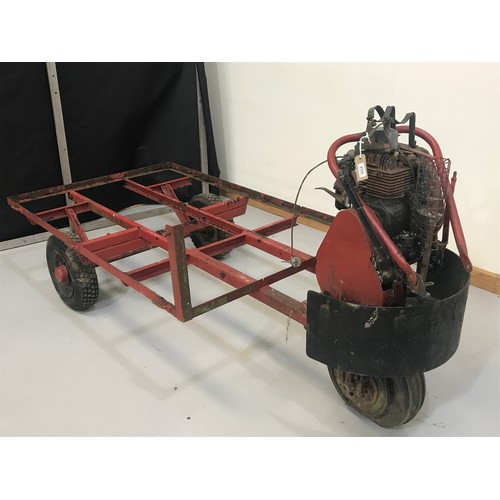 604 - VINTAGE VILLIERS MOTOR CART COMPRISING CHASSIS, REAR AXEL, MOTOR AND MAKERS PLATE WRIGLEY WESSEX IND...