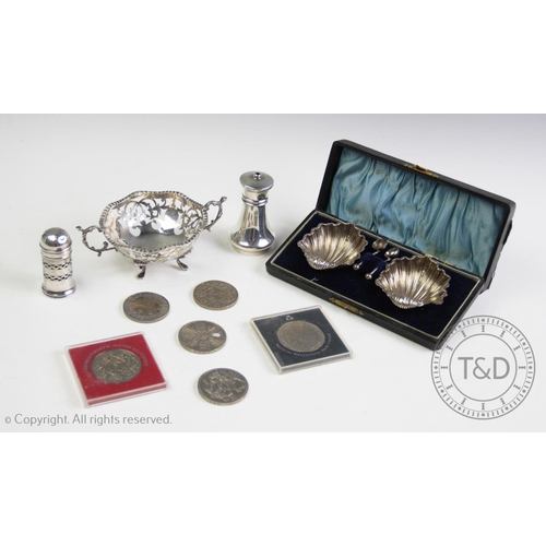 26 - A selection of small silver and coinage, to include; a Victorian cased set of silver salts, Adie & L...