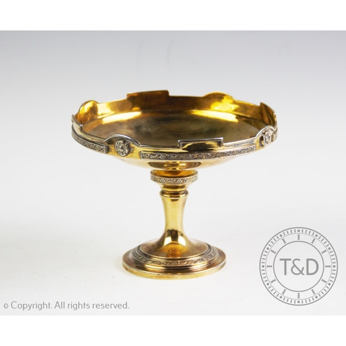 5 - A George V silver gilt pedestal bonbon dish, Wilmot Manufacturing Co, Birmingham 1927, with stylised...
