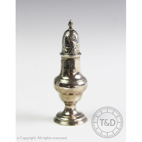 54 - A George III silver sugar caster, Thomas Daniell & John Wall, London 1781, of typical baluster form ...