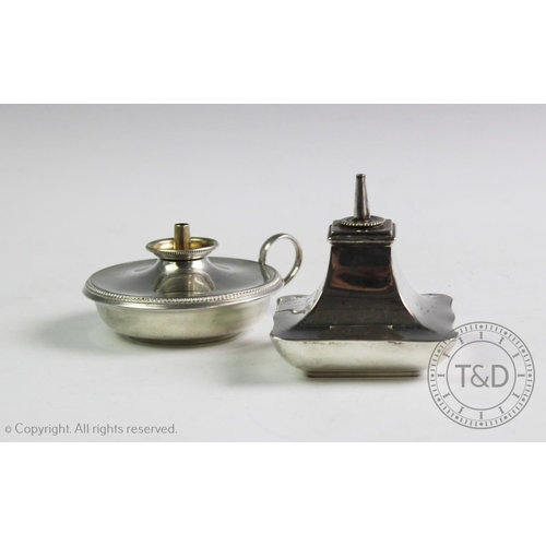 56 - A George V silver burner, Williams Ltd, Birmingham 1923, of square tapering form, with a scalloped r...