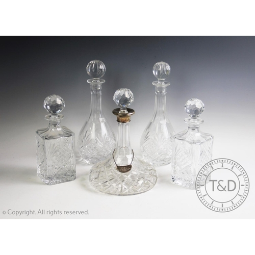 7 - A silver mounted ship's decanter, W.I. Broadway & Co, Birmingham 2000, with a pair of balloon decant...
