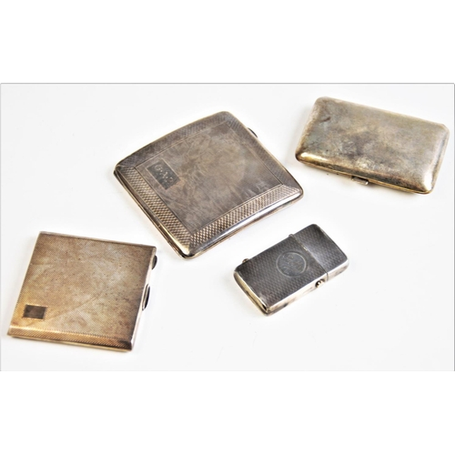 18 - A collection of silver and white metal cases, to include; a silver cased lighter named 'Betty', a si...