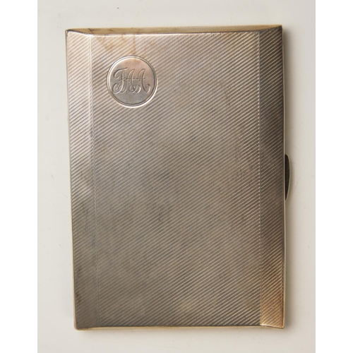 19 - A silver cigarette case, Birmingham 1935, with engine turned decoration, monogrammed 'FAA', 12.5cm x...