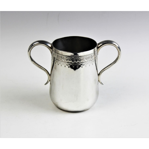 8 - A Victorian silver two handled loving cup, Thomas Smiley, London 1872, of tapering form, with stiff ...