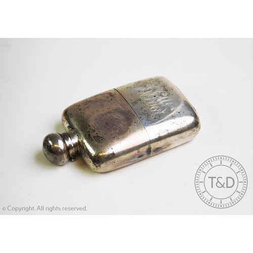 28 - A George V silver hip flask, W & G Neal, London 1911, the rectangular body with detachable silver st...