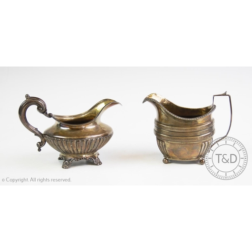 37 - A William IV silver cream jug, Richard Pearce & George Burrows, London 1837, with a stop reeded body...