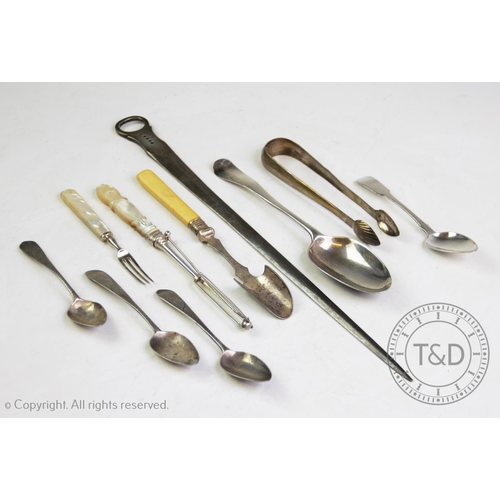 38 - A selection of silver and silver coloured flatware, comprising: a George III silver meat skewer, Lon...