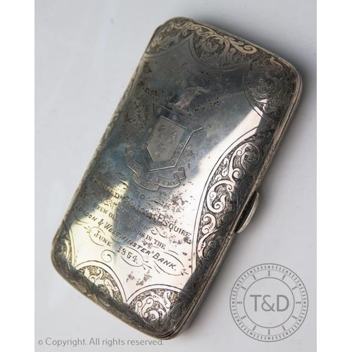 51 - A Victorian silver cigar case George Unite & Sons, Birmingham 1893, swirling foliate decoration, Che...
