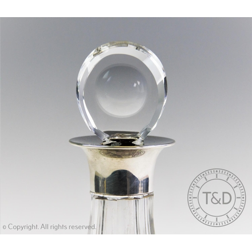 55 - A silver mounted ships decanter, J B Chatterley & Sons Ltd, Birmingham 1976, with cut glass tapering...