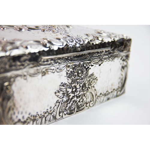 1 - An Edwardian silver cigar case of large proportions, Joseph Braham, London 1902, the rectangular for...