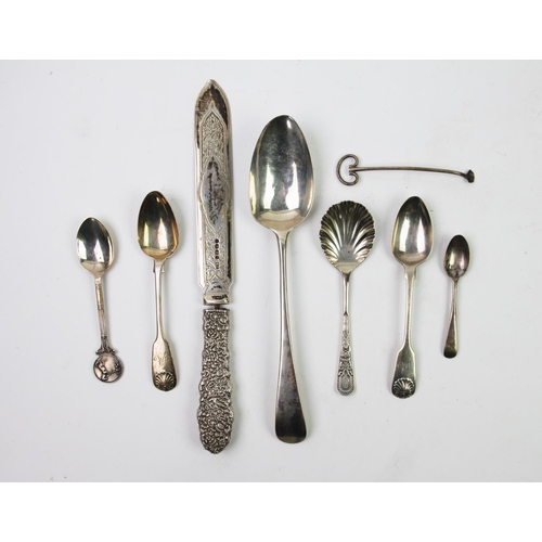 13 - A selection of silver and silver plated flatware, to include a George III Old English silver spoon, ...