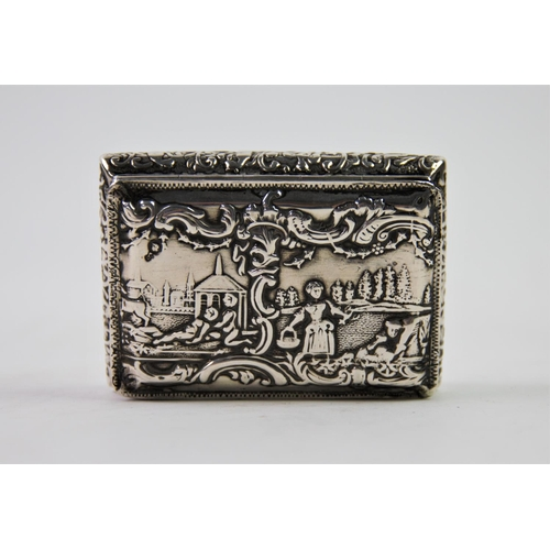 33 - A 19th century continental silver snuff box, import marks for Edwin Thompson Bryant, London 1892, of...