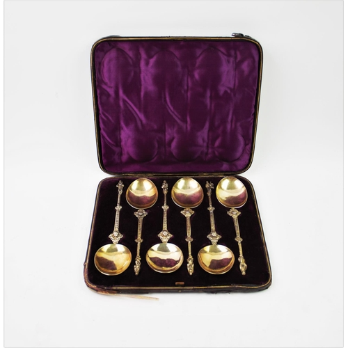 47 - A set of six continental white metal and gilt apostle spoons, with oval bowls, chased stems decorate...