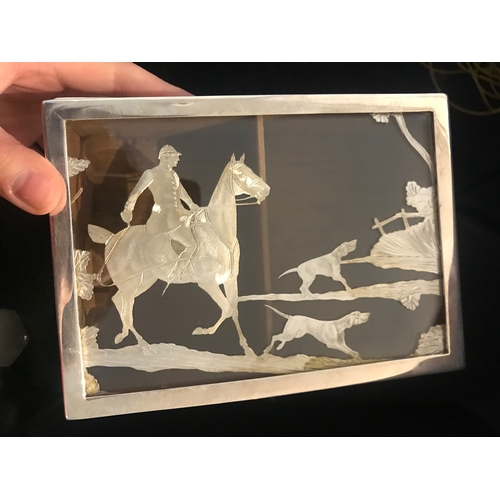 59 - Hunting interest: An early 20th century white metal rectangular cigarette box, of plain polished for...