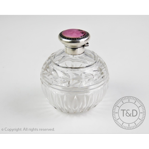 10 - A George V silver and guilloche enamel topped scent bottle, W G Sothers Ltd, Birmingham 1925, the hi...