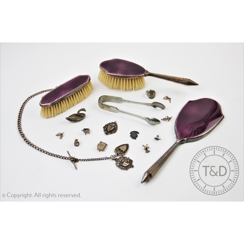24 - An Art Deco silver and enamel backed part dressing table set, Daniel Manufacturing Company, Birmingh...