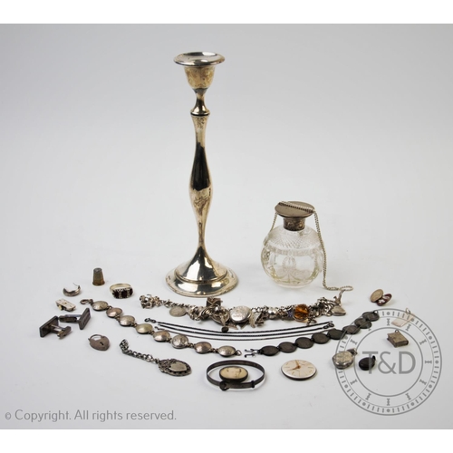 29 - An Edwardian silver candlestick, G M & S Ltd, Birmingham 1909, of plain polished form with tapering ...