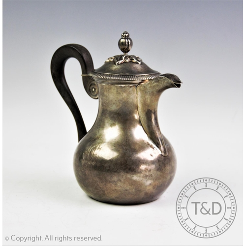 38 - A late 19th century French silver hot water jug, Alexandre-Auguste Turquet, Paris, the plain polishe...