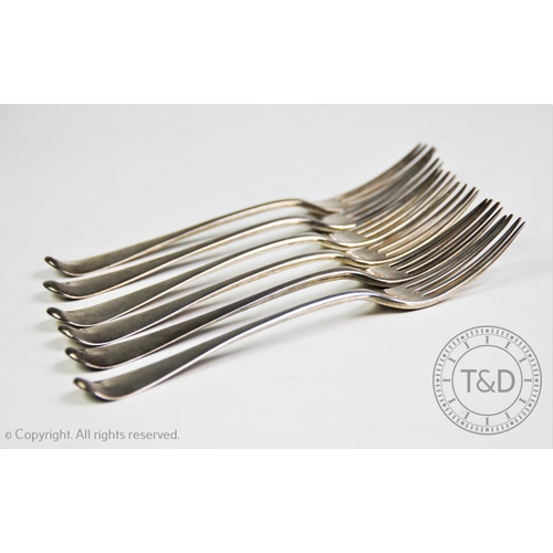42 - A set of six George III old English pattern silver forks, George Smith (III) & William Fearn, London...