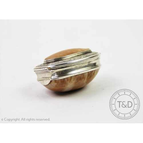 2 - A 20th century white metal mounted shell snuff box, the shell designed with white metal collar, the ...