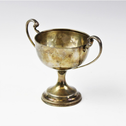 15 - A silver twin-handled pedestal trophy cup by F Johnson & Sons, Birmingham 1933, the circular bowl wi...