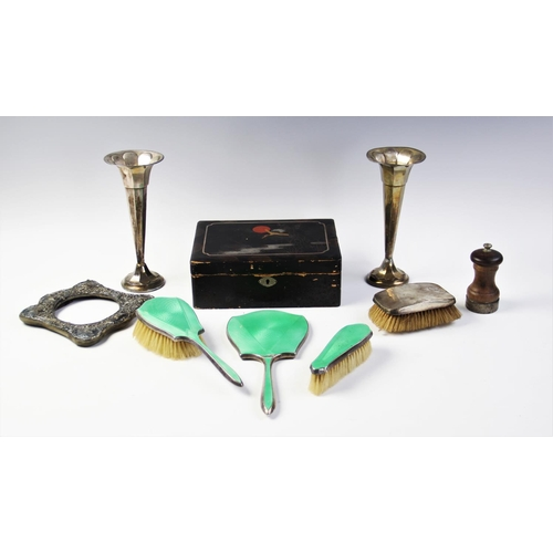 19 - A silver and green guilloche enamel vanity set by Daniel Manufacturing Company, Birmingham 1934 - 19...