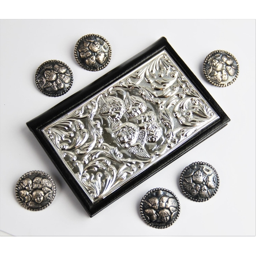 23 - A set of six Edwardian silver buttons by Levi & Salaman, Birmingham 1900 (one dated 1899), of circul...